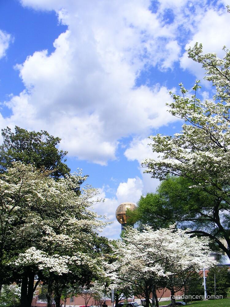 Sunsphere backed by blue sky by raindancerwoman