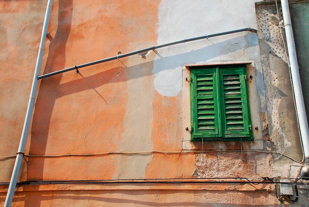 Green Shutters on Orange Wall by jojobob