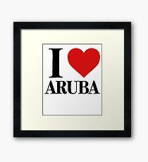 I Love Aruba For Beach Vacation Framed Print