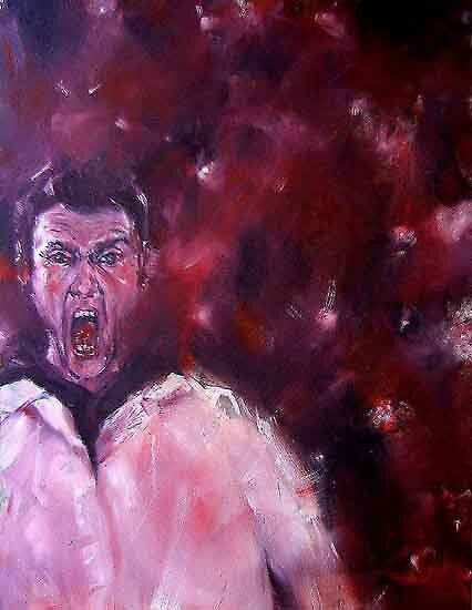The Cry (Selfportrait), oil on canvas, 60 x 80 cm, 2005 by Franko Camue