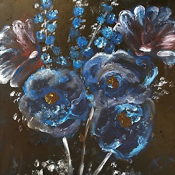 Abstract Blue Flowers on Black Background  by Aliree