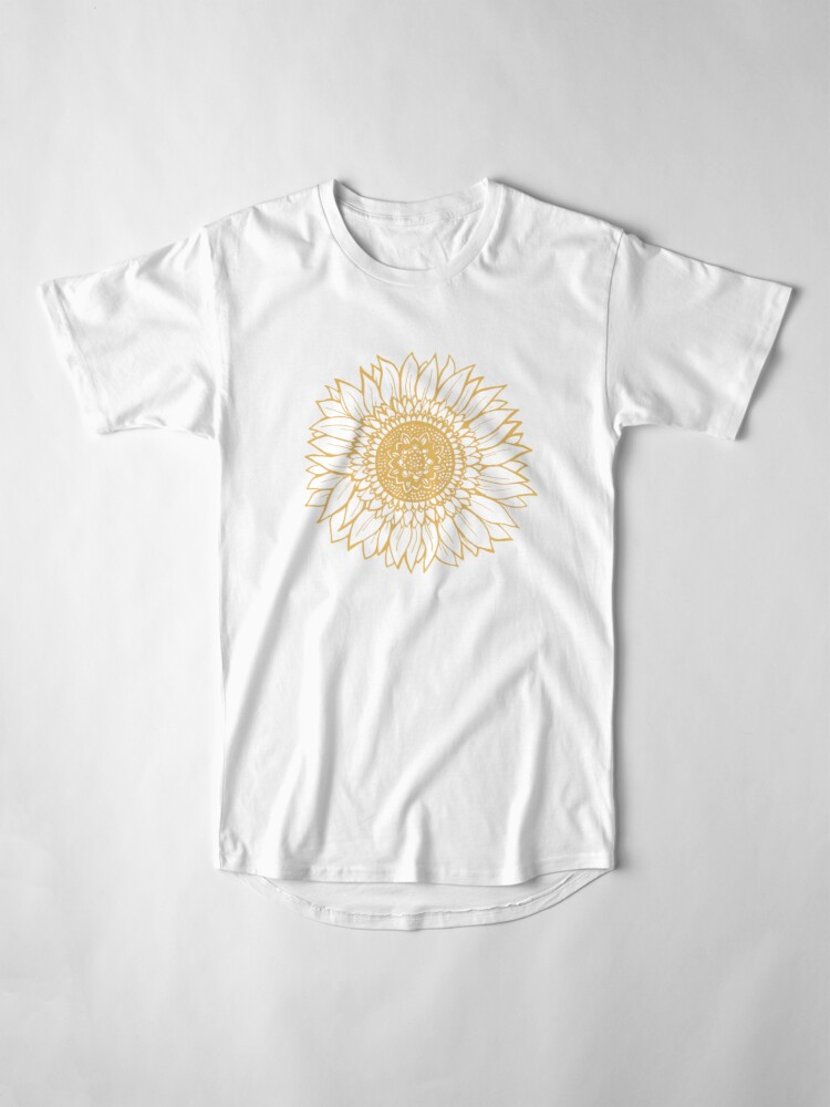 Alternate view of Yellow Flower Drawing Tapestry Long T-Shirt