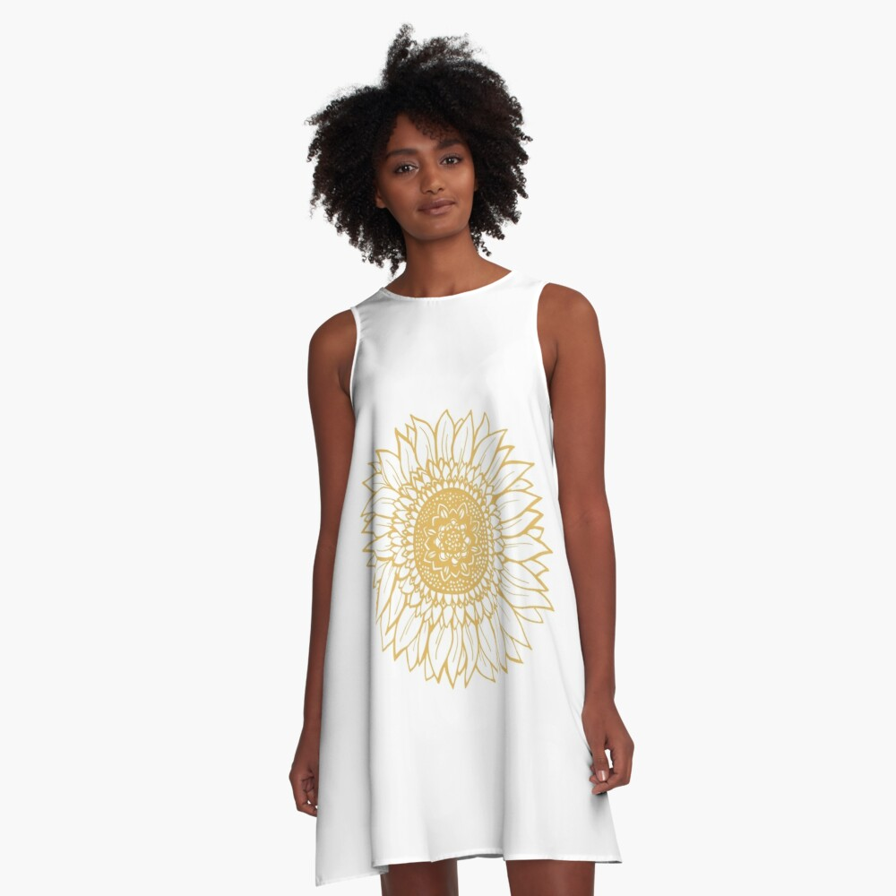 Yellow Flower Drawing Tapestry A-Line Dress