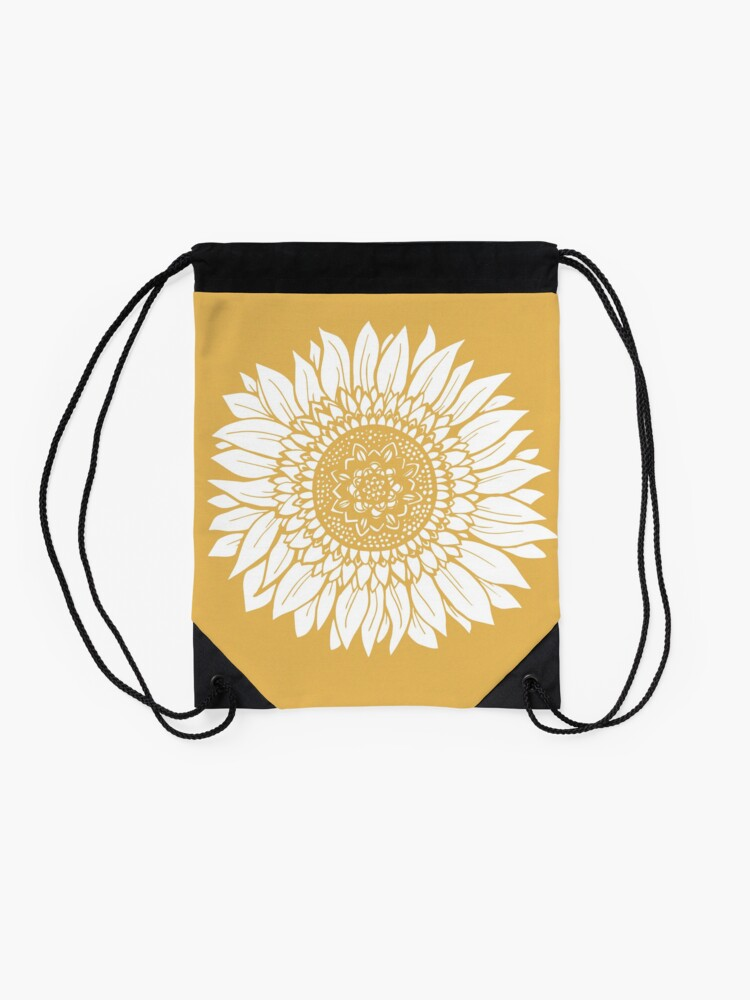 Alternate view of Yellow Flower Drawing Tapestry Drawstring Bag
