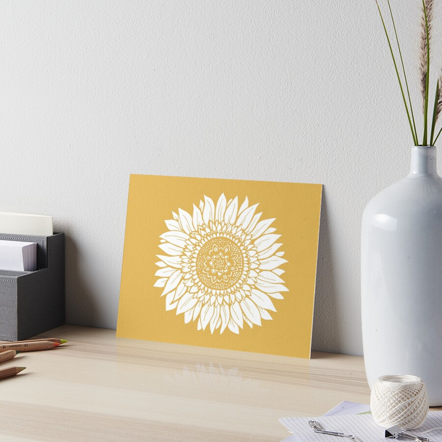 Yellow Flower Drawing Tapestry Art Board Print