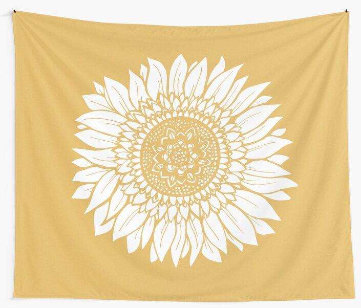 Yellow Flower Drawing Tapestry Wall Tapestries By Aterkaderk