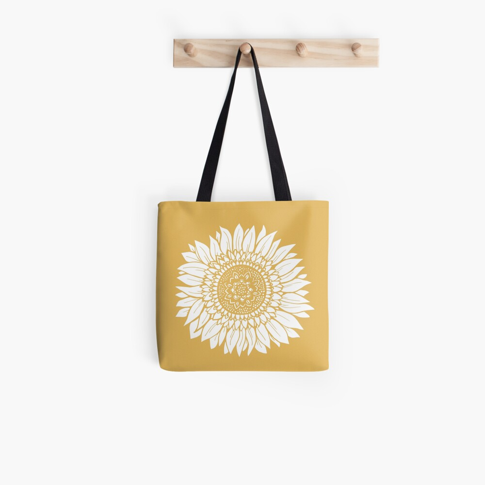 Yellow Flower Drawing Tapestry Tote Bag