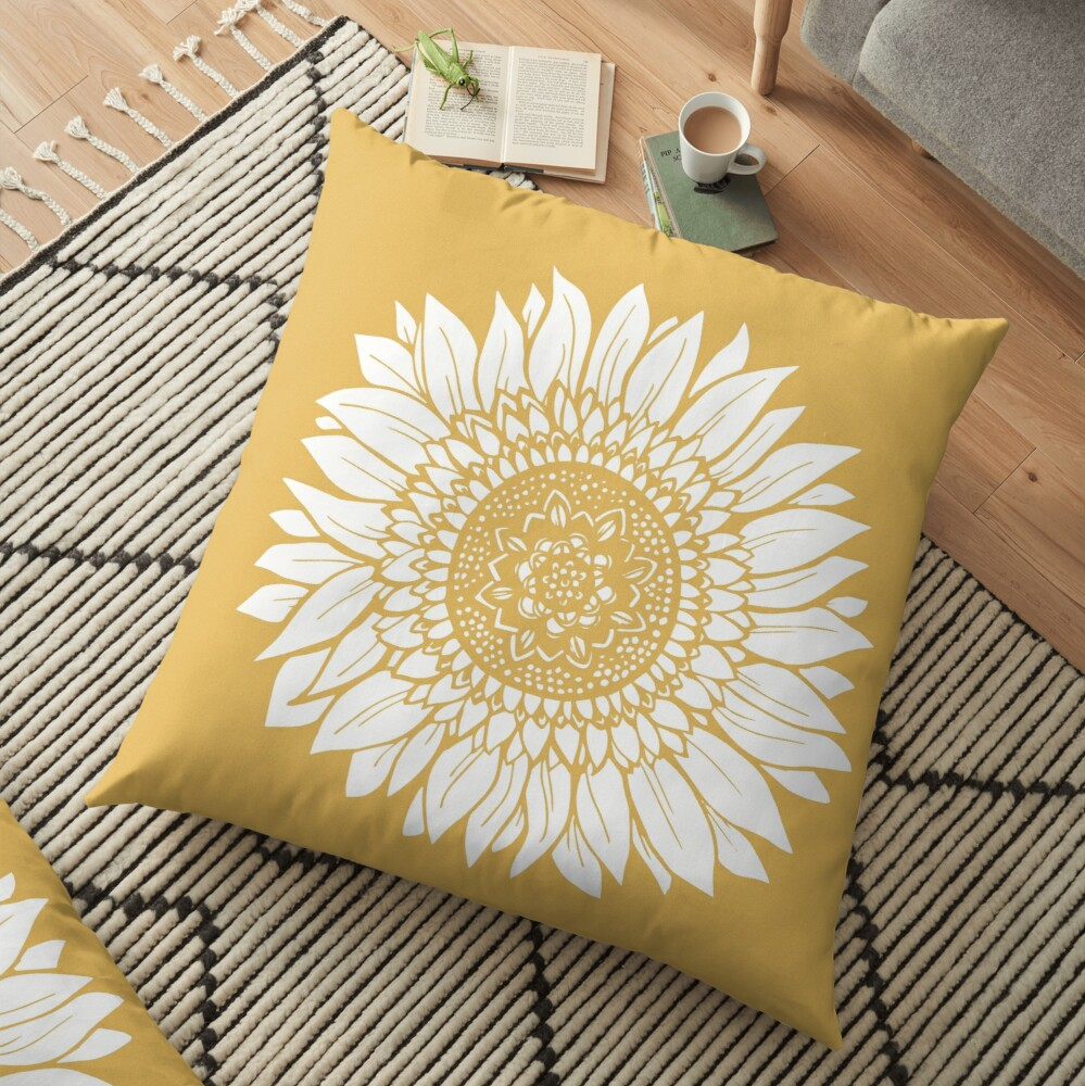 Yellow Flower Drawing Tapestry Floor Pillow