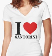 I Love Santorini For Italy Pride Women's Fitted V-Neck T-Shirt