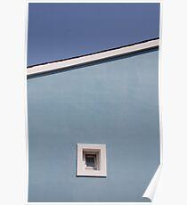Window in Blue Wall Poster