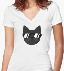 Chill Cat Women's Fitted V-Neck T-Shirt