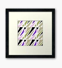 Hand painted abstract pink violet green geometric pattern Framed Print