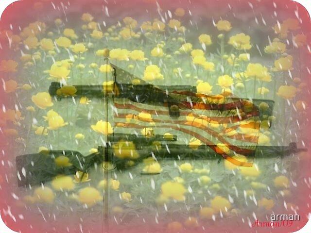 flag...guns...flowers... by arman