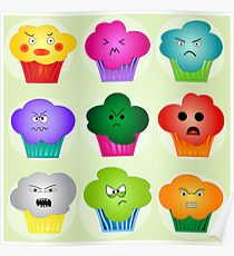 Colorful Angry Evil Cupcake Design Funny Vector Poster