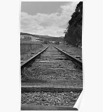 Train Tracks black and white Poster