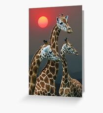 SUNSET WITH GIRAFFES 3 Greeting Card