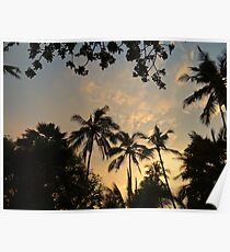 Palm Silhouettes At Sunset - Kenya Africa Poster