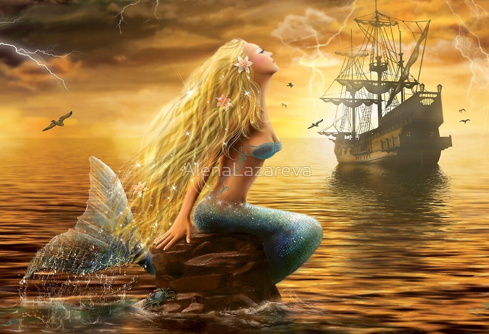 Beautiful Fantasy Sea Mermaid with Ship at Sunset background by Alena Lazareva