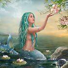 Meerjungfrau im Sonnenuntergang mit grünen Haaren und Lilien von Alena Lazareva
