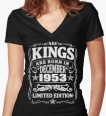 Kings are born in december 1953 Women's Fitted V-Neck T-Shirt