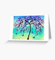Cherry Blossoms with Aqua Greeting Card