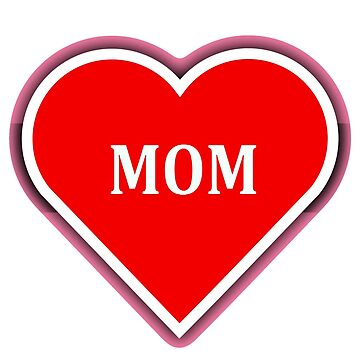 Simple red heart design with one word MOM by almawad