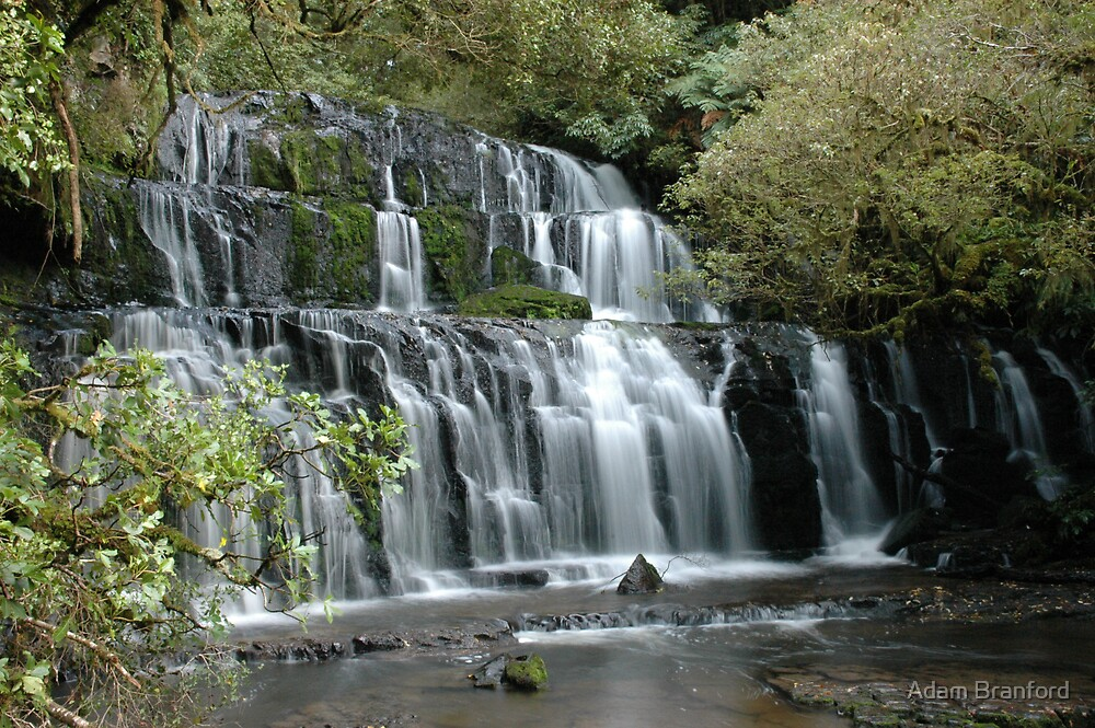 Purakaunui Falls, Catlins Forest, South Island, NZ by Adam Branford