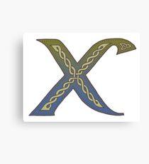 Celtic Knotwork Alphabet - Letter X Canvas Print