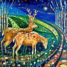 Winter Lights and Deer by ClareWassermann