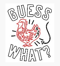 Guess What? Chicken Butt Graphic T-Shirt Black, White Photographic Print