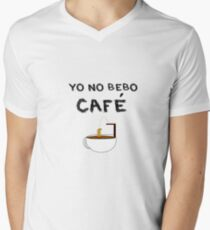 YO NO BEBO CAFÉ ME BAÑO EN ÉL Camiseta de cuello en V