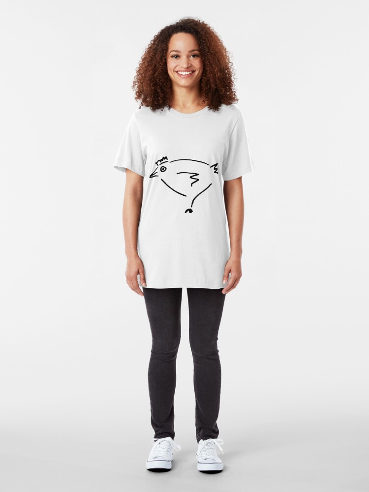 Alternate view of The Secret Chicken - Black Slim Fit T-Shirt