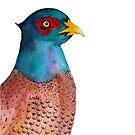 Pheasant Bird Watercolor Painting Wildlife Artwork by Alison Langridge