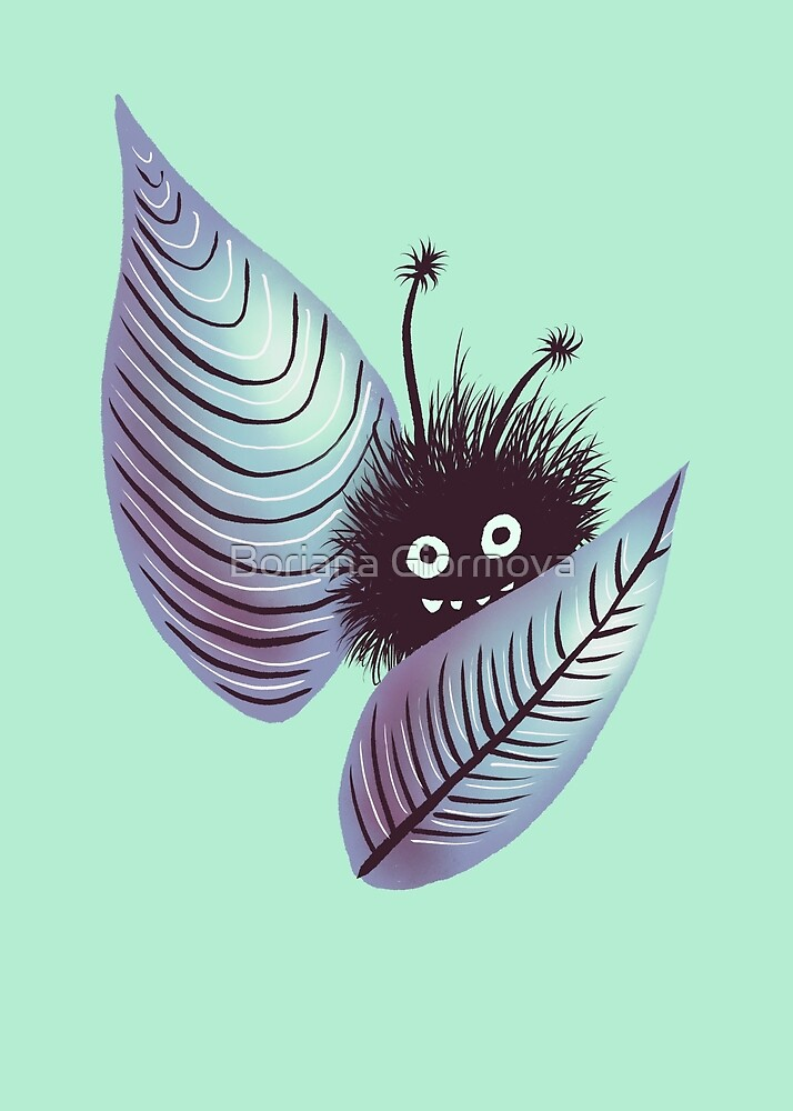 Cute Hairy Monster Hidden In Leaves by Boriana Giormova