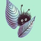 Cute Hairy Monster Hidden In Leaves by Boriana Giormova