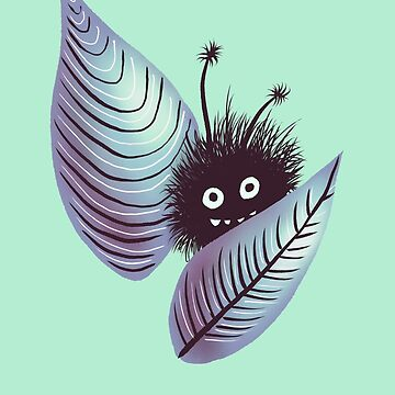 Cute Hairy Creature Hidden In Leaves | Digital Art by azzza