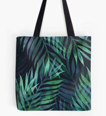 Dunkelgrüne Palmen Blätter Muster Tote Bag