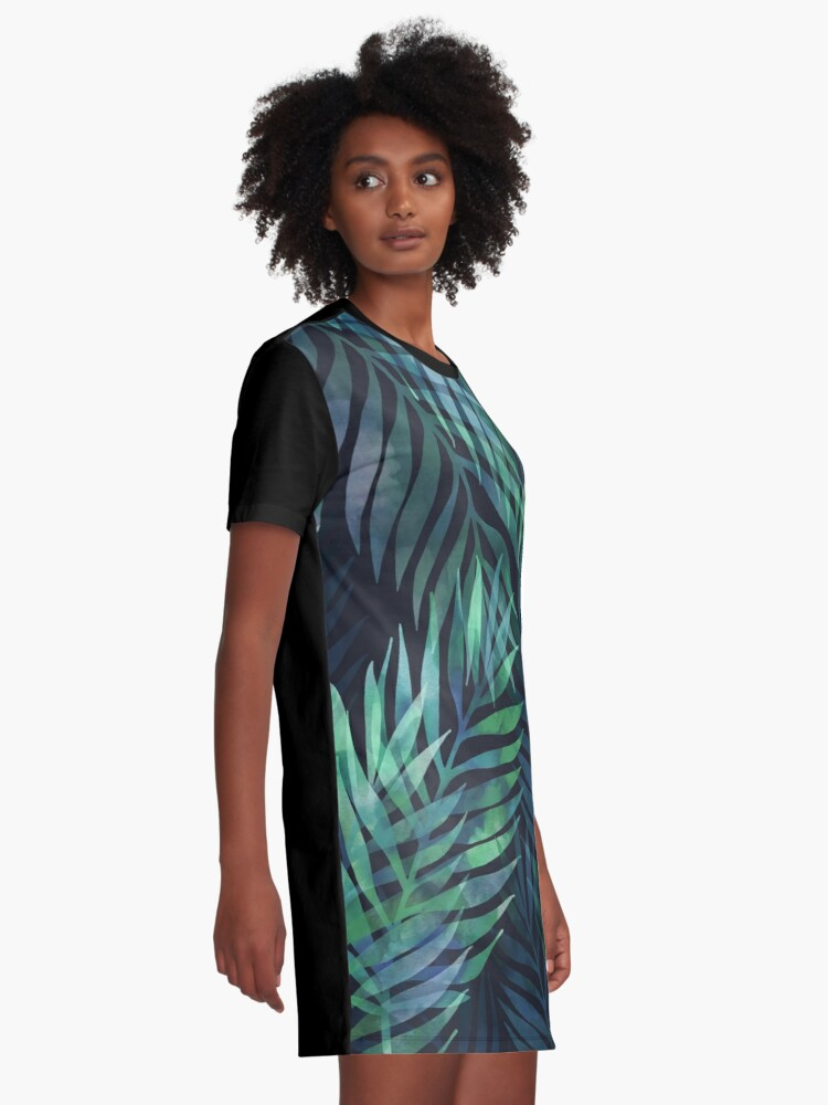 Alternate view of Dark green palms leaves pattern Graphic T-Shirt Dress