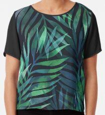 Dunkelgrüne Palmen Blätter Muster Chiffontop