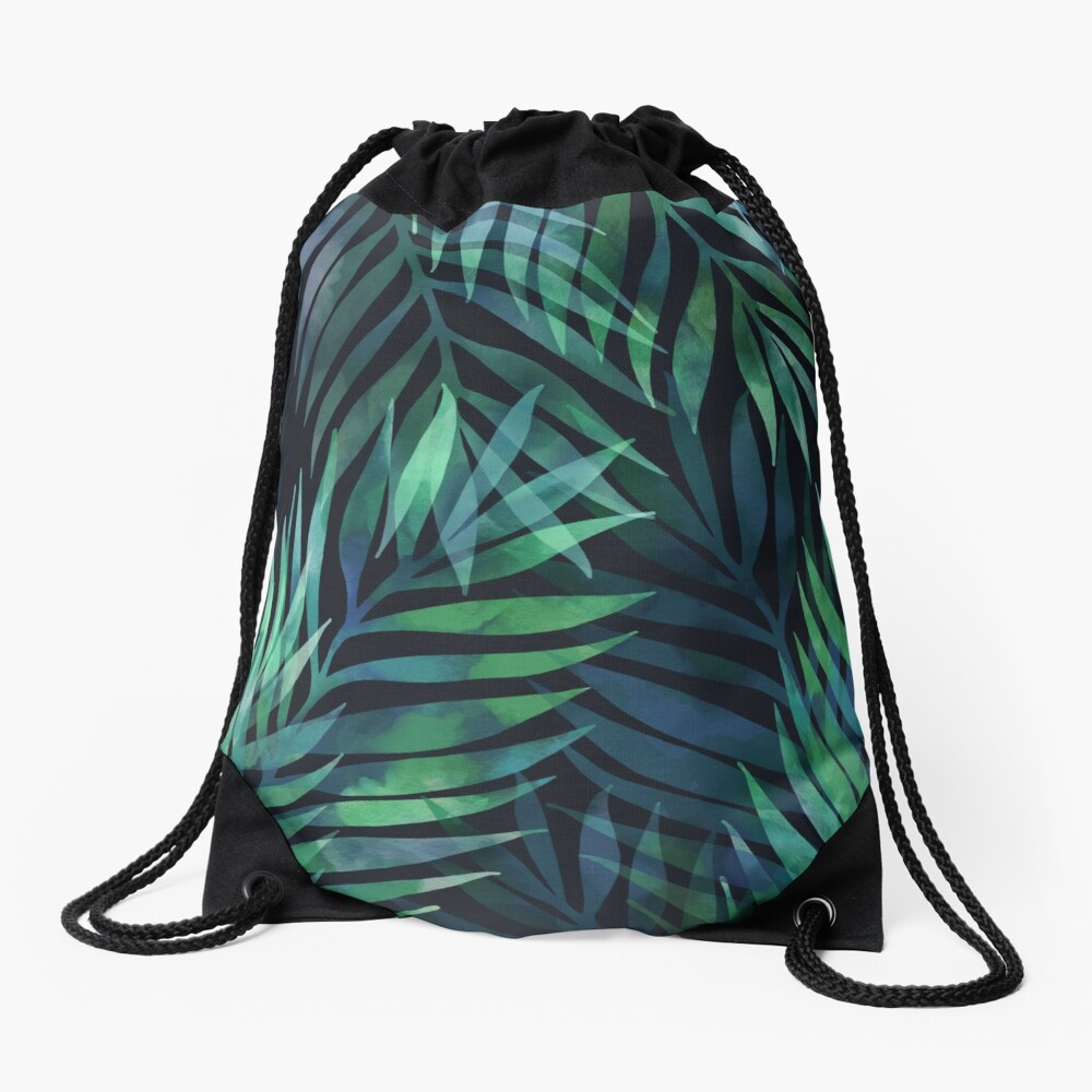 Dark green palms leaves pattern Drawstring Bag