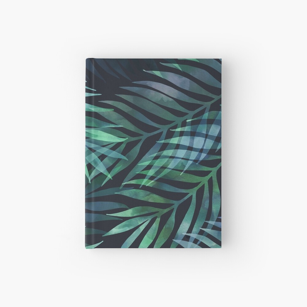 Dark green palms leaves pattern Hardcover Journal