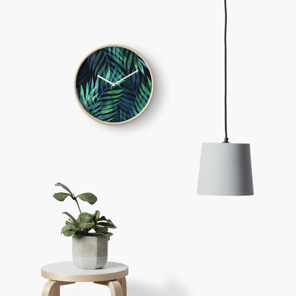 Dark green palms leaves pattern Clock