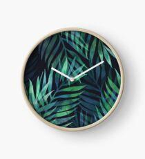 Dunkelgrüne Palmen Blätter Muster Uhr
