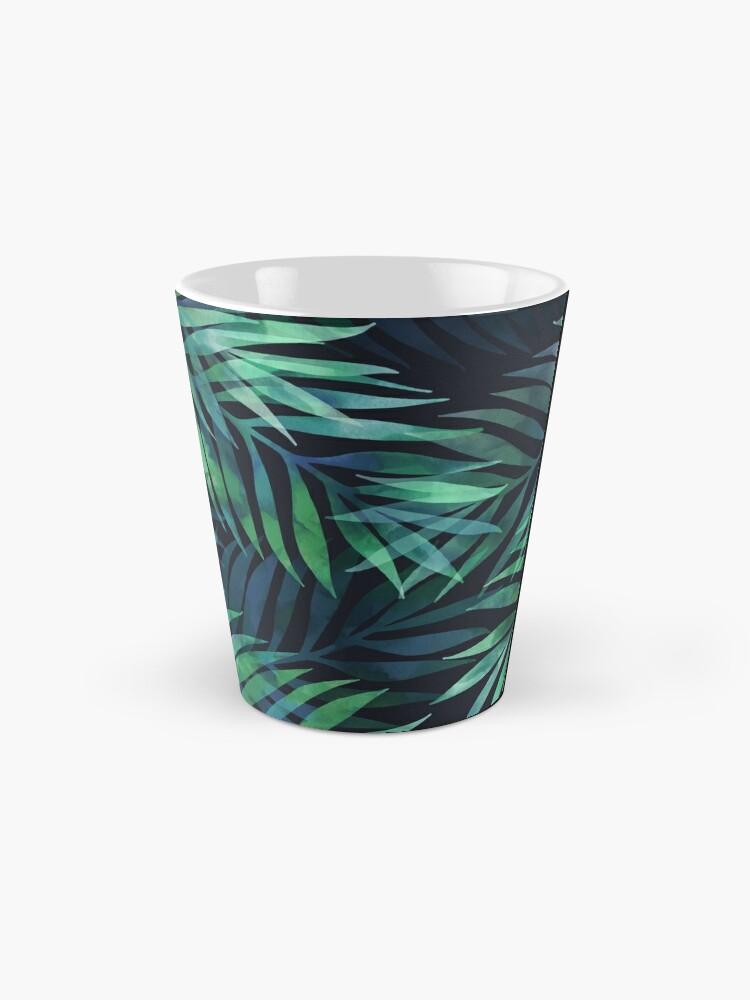 Alternate view of Dark green palms leaves pattern Mugs