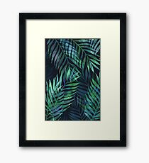 Dark green palms leaves pattern Framed Print