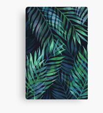Dark green palms leaves pattern Canvas Print