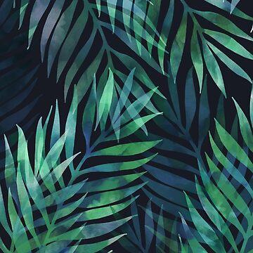 Dunkelgrüne Palmen Blätter Muster von MartaOlgaKlara