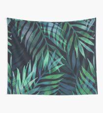 Dunkelgrüne Palmen Blätter Muster Wandbehang