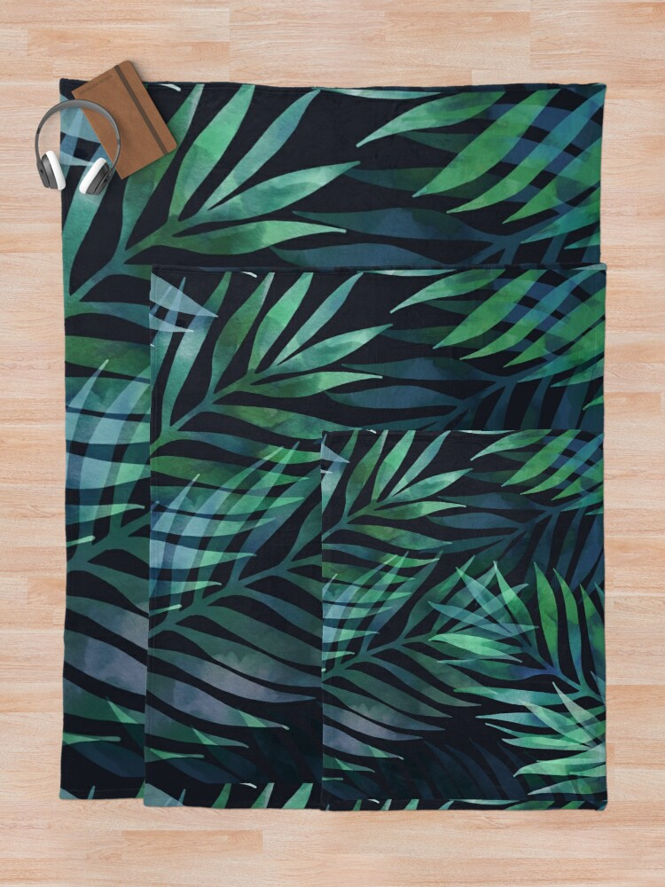 Alternate view of Dark green palms leaves pattern Throw Blanket