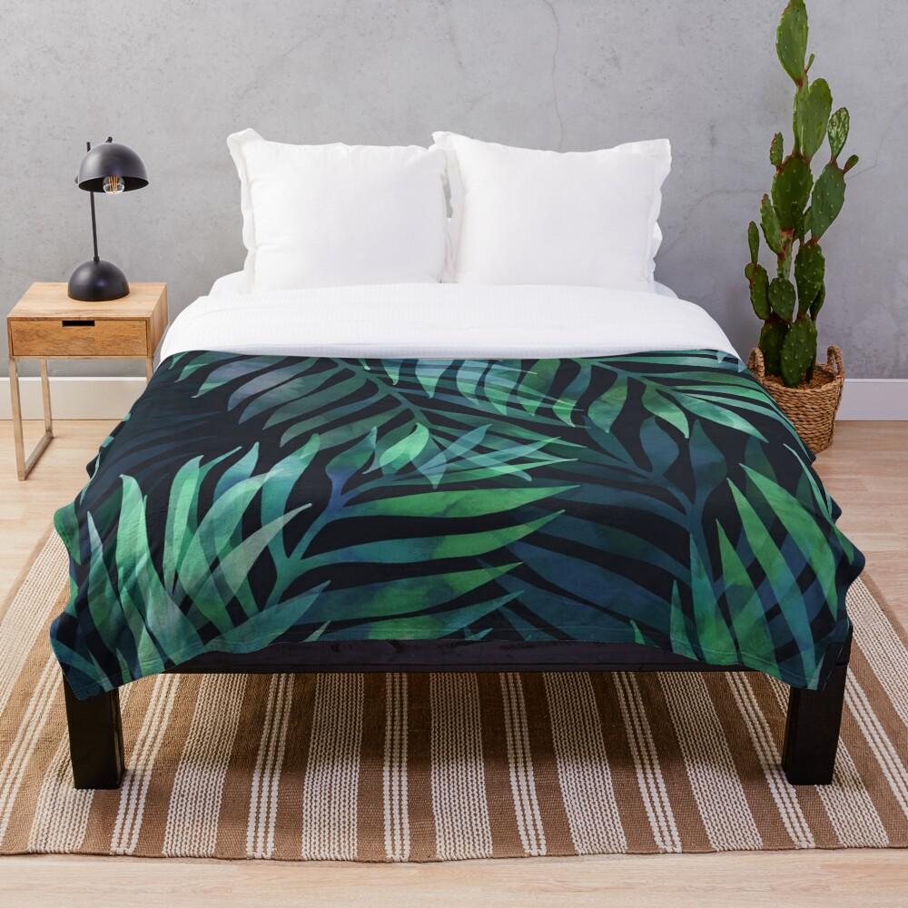 Dark green palms leaves pattern Throw Blanket